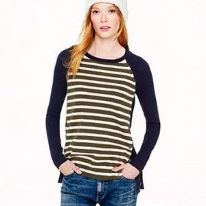 J Crew Striped Side Button Wool Sweater